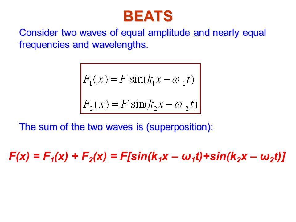 F(x) = F1(x) + F2(x) = F[sin(k1x – ω1t)+sin(k2x – ω2t)]